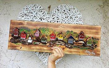 Dekorácie - Dedinka v údolí - obraz na dreve - 11991679_