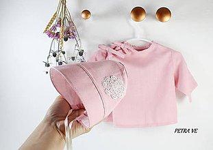 Detské čiapky - Ružový sen - detský čepček z ľanu - 11989100_