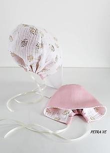 Detské čiapky - Púpavy - detský obojstranný čepček z ľanu a mušelínu - 11990496_