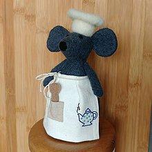Dekorácie - Plstená myška s ľanovou zásterou - čajník - 11988909_