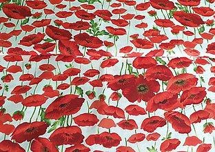 Textil - Látka červené maky - 11988132_