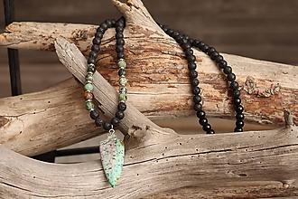 Šperky - Pánsky náhrdelník z minerálov africký tyrkys, láva, onyx - 11988349_