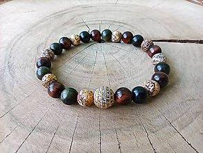 Náramky - Náramok jaspis, obsidián, býčie oko - 11994798_