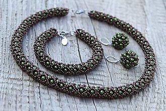 Sady šperkov - súprava zeleno-hnedá (súprava zeleno-hnedá) - 11992939_