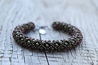 Sady šperkov - súprava zeleno-hnedá (náramok zeleno-hnedý) - 11992955_