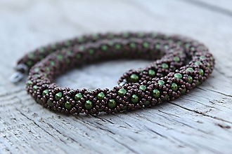 Sady šperkov - súprava zeleno-hnedá (náhrdelník zeleno-hnedý) - 11993583_
