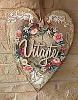 Dekorácie - Dekoračné srdce s venčekom - 11993931_