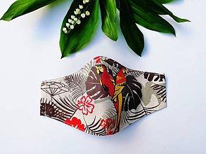 Rúška - Dámske / dievčenské tvarované RÚŠKO s drôtikom - 2 vrstvy (Papagáje) - 11994096_