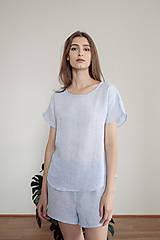 Pyžamy a župany - domáci set LEN svetlo modrý - 11993123_