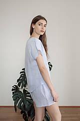 Pyžamy a župany - domáci set LEN svetlo modrý - 11993125_