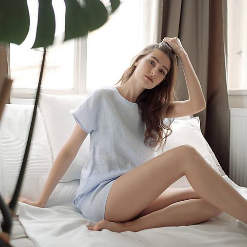 Pyžamy a župany - domáci set LEN svetlo modrý - 11993122_