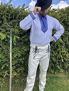 Oblečenie - Pánsky folklórny komplet košele a nohavíc modrý - 11994866_