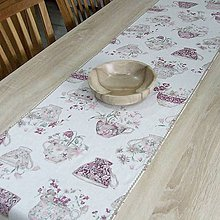 Úžitkový textil - ETELA - kvetinové šálky režnej - stredový behúň 170x40 - 11995692_
