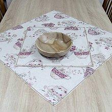 Úžitkový textil - ETELA - kvetinové šálky režnej - obrus štvorec - 11995721_