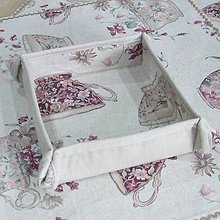 Úžitkový textil - ETELA - kvetinové šálky režnej - štvorcový košíček - 11996118_