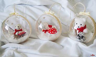 Dekorácie - Kúzelné Vianoce - sada veľkých vianočných gúl, červená + biela - 11996263_
