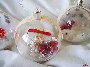 Dekorácie - Kúzelné Vianoce - sada červeno / bielo / strieborná - 11996307_