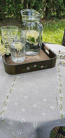 Úžitkový textil - Ľanový behúň- zelená záhrada - 11994104_