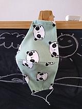 Rúška - AKCIA dizajnové rúško panda mint tvarované dvojvrstvové (Dámske antibakteriálne vnútro) - 11997555_