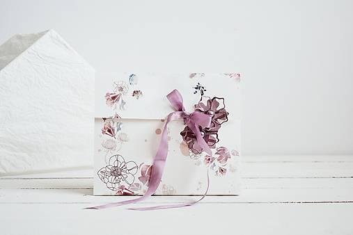 Papiernictvo - Papierová taška - kvety (Fialová) - 11997599_