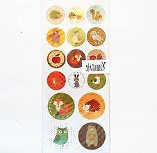 Papier - Samolepky, veverička, ježko, líška, medveď, sova - 11997875_