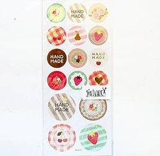 Papier - Samolepky, handmade, ruža, jahoda, čipka, srdiečko - 11997924_