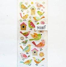 Papier - Samolepky, vták, vtáčik, birds, búdka, domček - 11997997_