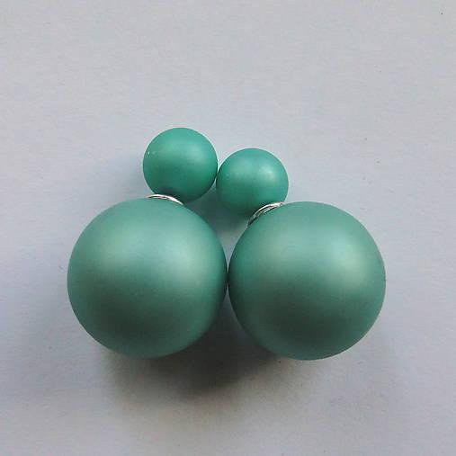 Dvojité perlové náušnice 16mm (mint matná)