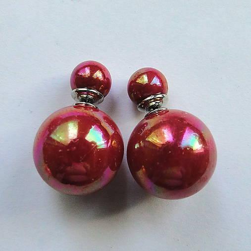 Dvojité perlové náušnice 16mm (bordovočervená)
