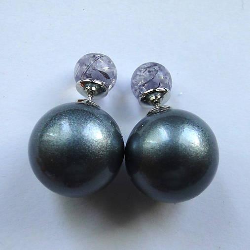 Dvojité perlové náušnice 16mm (šedá matná)