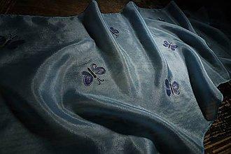Šály - Modré motýliky - šál - 11999273_