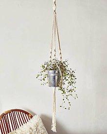 Dekorácie - Makramé závesný držiak na kvety POTHOS - 11996745_