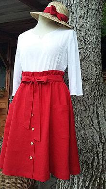 Sukne - Ľanová sukienka - červená - 11996629_
