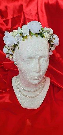Ozdoby do vlasov - Biely svadobný venček - 11997742_