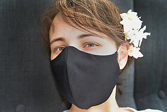 Rúška - Čierne dvojvrstvové bavlnené rúško - 11997801_