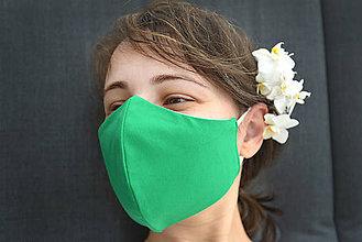 Rúška - Zelené dvojvrstvové bavlnené rúško - 11997854_