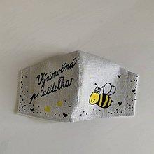 Rúška - Výnimočné maľované ľanové rúško (pre výnimočnú pani učiteľku včielok) - 11999279_