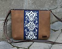 Kabelky - Modrotlačová kabelka Júlia kožená AM - 11998669_
