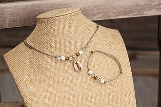 Sady šperkov - Súprava náhrdelníku a náramku na šnúrke - 11997209_