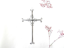 Dekorácie - krížik strieborný *18,5 cm - 11998421_