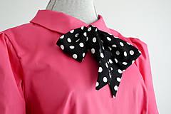Šaty - Ružové šaty s golierikom a bodkovanou mašľou - 11999998_