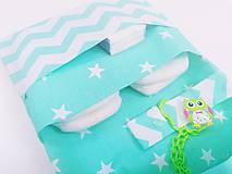 Detské doplnky - Organizér na plienky mentolový s hviezdičkami - 12002783_