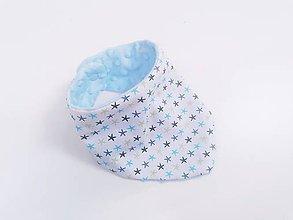 Detské doplnky - Nákrčník blue minky + modro-tyrkysové hviezdičky - 12002831_