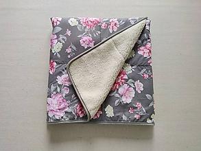 Úžitkový textil - RUNO SHOP Deka vlnená 100 % ovčie rúno Lux Elegant Rose tmavo šedá Grey - 12001944_