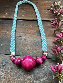 Náhrdelníky - Růžové korále na tyrkysovém laně - 12002061_
