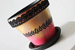 Nádoby - Terakotový kvetináč - Zlato s čipkou - 12001903_