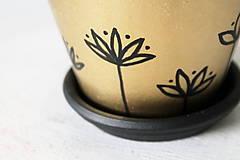 Nádoby - Terakotový kvetináč - Zlato-čierny - 12001971_