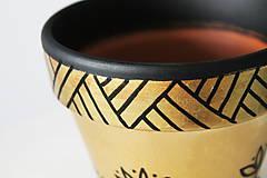 Nádoby - Terakotový kvetináč - Zlato-čierny - 12001972_