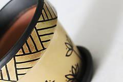 Nádoby - Terakotový kvetináč - Zlato-čierny - 12001974_