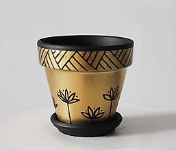 Nádoby - Terakotový kvetináč - Zlato-čierny - 12001969_